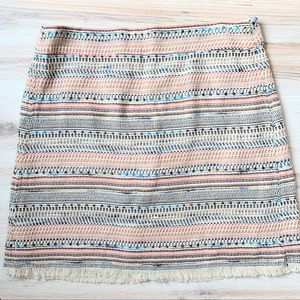 LOFT Multicolored Woven Fringe Mini Skirt Size 10